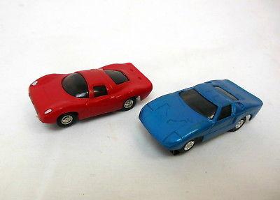 Pair ELDON HO Scale Slot Cars Ford GT & Ferrari Race Track 1960's!