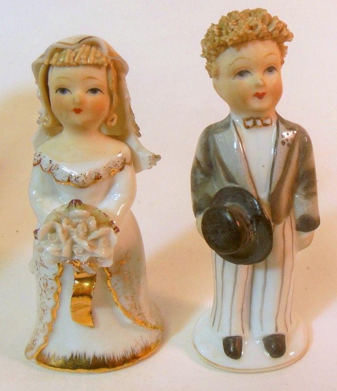 Vtg BRIDE GROOM Wedding Cake Toppers Porcelain Top Hat