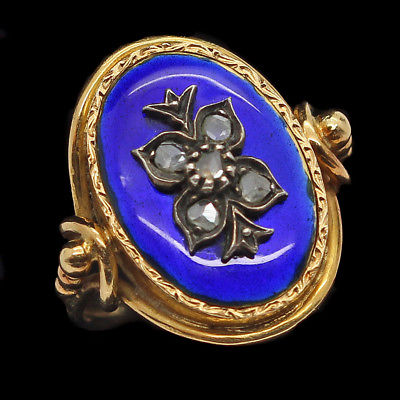 Antique Victorian Ring 18k Gold Rose Cut Diamonds Blue Enamel c1850 (#6324)