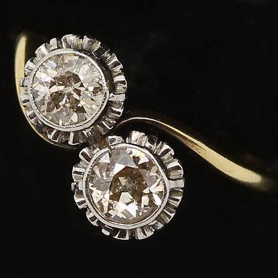 Diamond 18k Gold Platinum Engagement Ring Antique Crossover Toi Moi Ring (#6197)