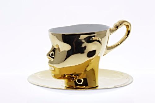 ENDEceramics Polish Hand Made ENDE Gold Porcelain Doll Head Cup with Saucer