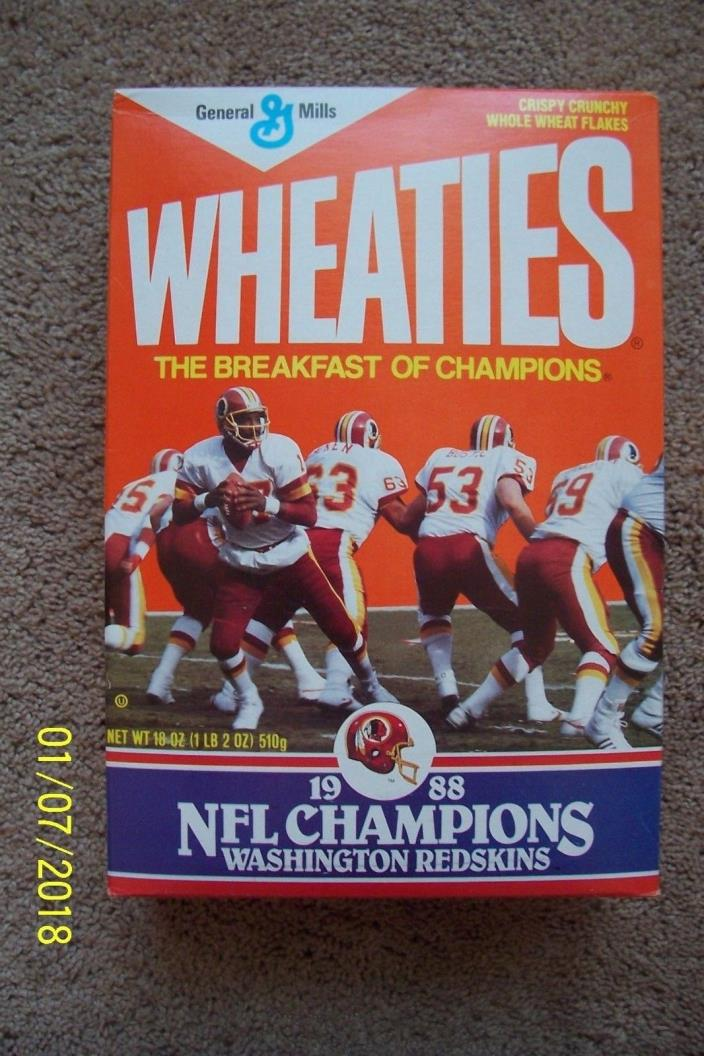 1988 NFL Champion Washington Redskins Wheaties Box - EMPTY