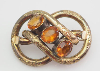 Antique Victorian ornate gold filled knot brooch pin with yellow stones