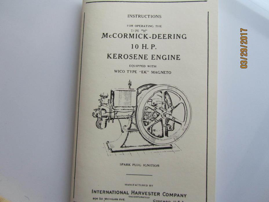 McCormick Deering 10HP M Operating Instruction Manual with EK magneto