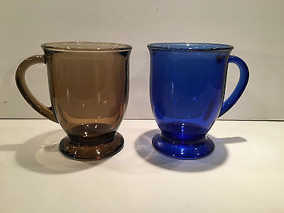 Two (2) Brown and Cobalt Blue Glass Anchor Hocking Mugs