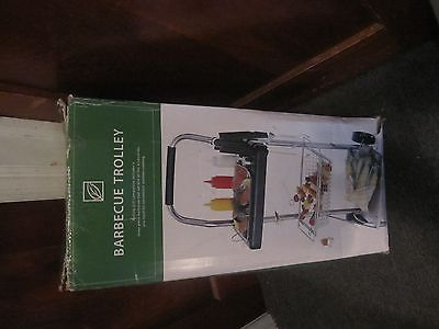 Brookstone Rolling Cart Metal BBQ Table Tea Trolley Utility Drinks Tray Bar