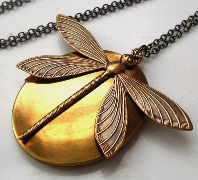 Victorian Art Nouveau Lrg Dragonfly Charm Pendant Vtg Photo LOCKET Necklace