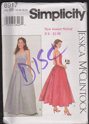 Junior Sized Gown Sewing  Pattern Sz 11/12 - 15/16