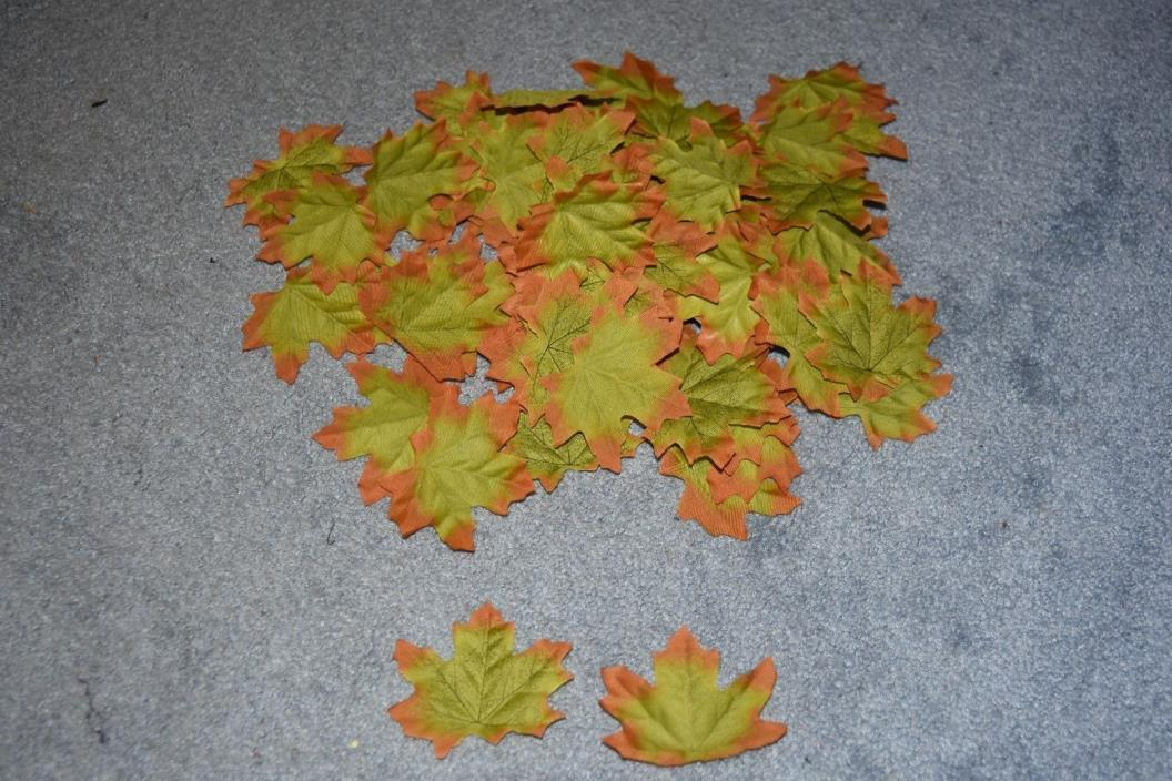 Artificial Fall Maple Leaves for Fall Weddings & Autumn Décor Green Orange 75+
