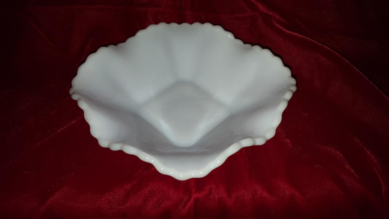 Vintage diamond designed ruffled milk glass candy dish   # 3175