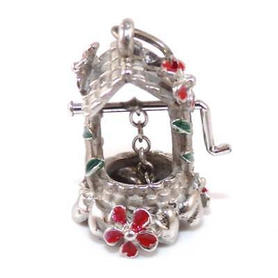 Vintage Beau Sterling Silver Red Enamel Wishing Well Flower Charm