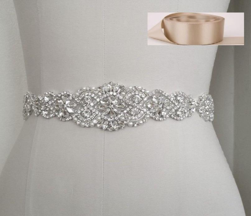 Wedding Bridal Sash Belt, Crystal Pearl Wedding Dress Sash Belt = TAUPTE SATIN