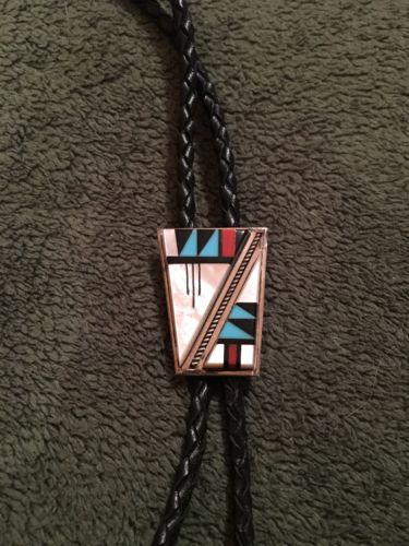 Vintage Southwestern Bola tie Mother Pearl Turquoise Coral Onyx Silver Tassels