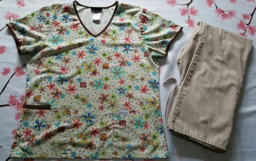 Cherokee Womens Scrub Set Size Small Floral Top Light Tan Pants re