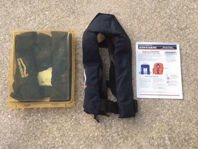 6 SOSPENDERS inflating fishing life vest preserver jacket emergency