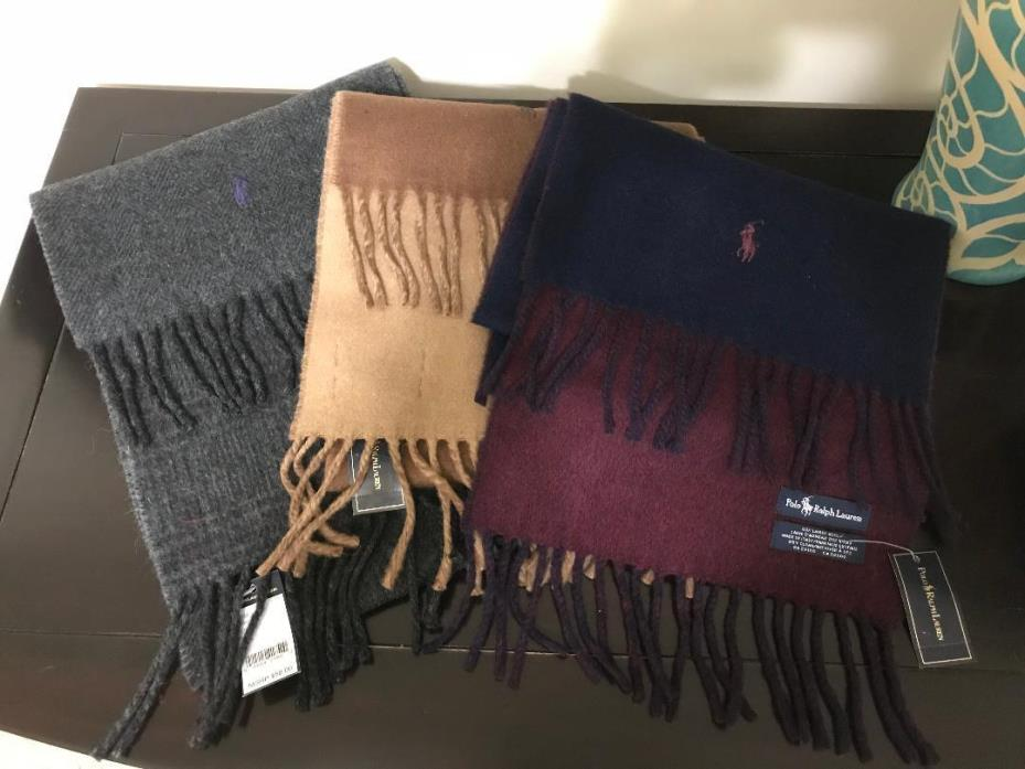 Polo Ralph Lauren Reversible Scarf 80% Lambs Wool Made in Italy NWT