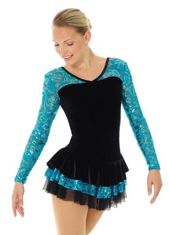 Girl 10-12 run small Mondor Ice Figure Skating Dress Black Velvet  & Peacock NWT