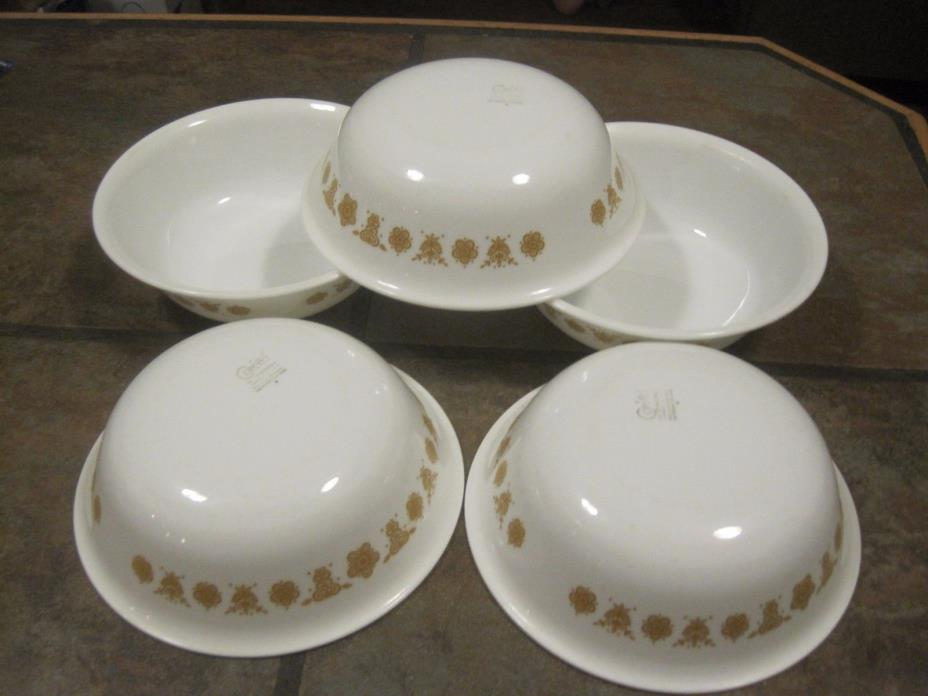 CORELLE 'BUTTERFLY GOLD' SOUP / CEREAL BOWLS, LOT OF (5), EUC