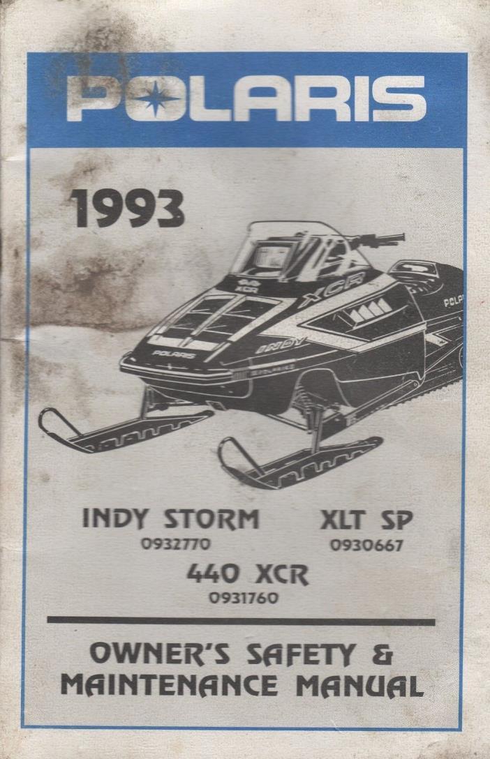 1993 POLARIS SNOWMOBILE INDY STORM, 440 XCR OWNER/MAINTENANCE 9912282 (700)
