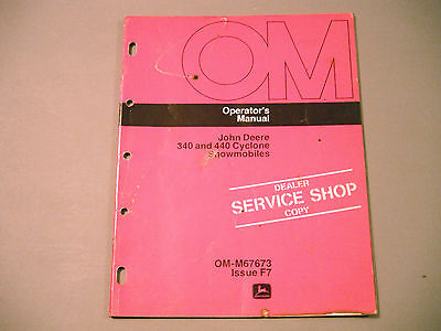 Vintage John Deere Cyclone 340 / 440 Snowmobile Operator's Manual (F7 Issue)