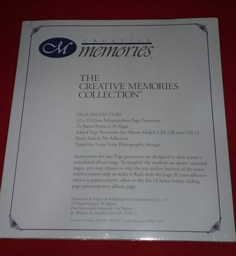 Creative Memories 12x12 original Page Protectors 15 sheets/30 pages SEALED