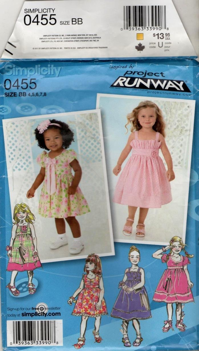 0455 / 2265 toddler girls pattern Summer dress with variations sizes 4 5 6 7 8