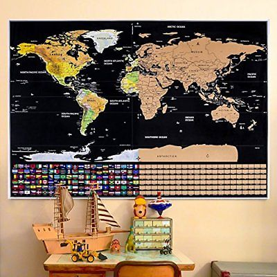 Rabbitgoo Scratch Off World Map Poster with US States and Country Flags Travel