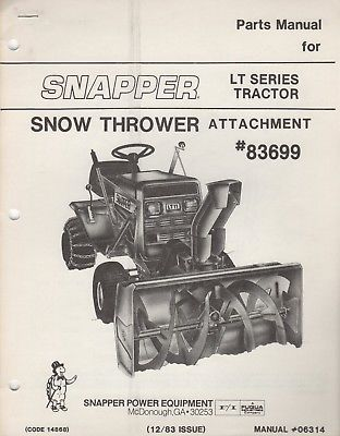 1984 SNAPPER LT SERIES TRACTOR SNOW THROWER ATTACHMENT PARTS MANUAL 06314 (353)
