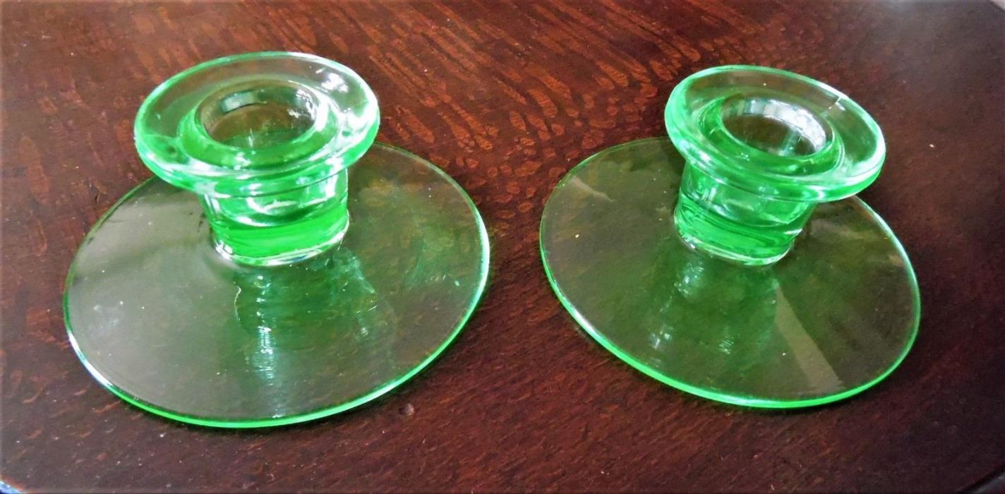 Vintage Depression Green Uranium Glass Candle Holders Rare 1920's