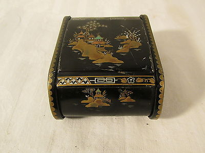 ANTIQUE VINTAGE  BARET WARE METAL ROSE PETAL CHINA GARDENS BOX #142