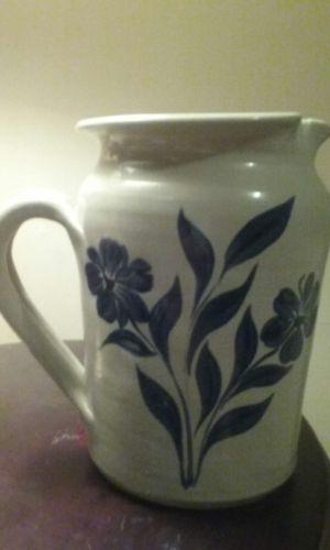 Williamsburg  Pottery, LG. Salt Glazed Gray and Coballt  Flowers 2Qt  Pitcher