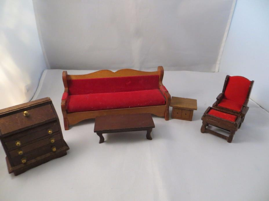Miniature Dollhouse Sofa & Chair upholstered Seat with Other wooden Pieces.