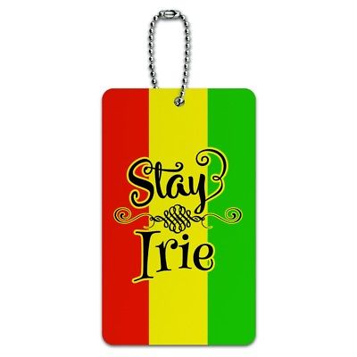 Stay Irie Rastafarian Flag Luggage Card Suitcase Carry-On ID Tag
