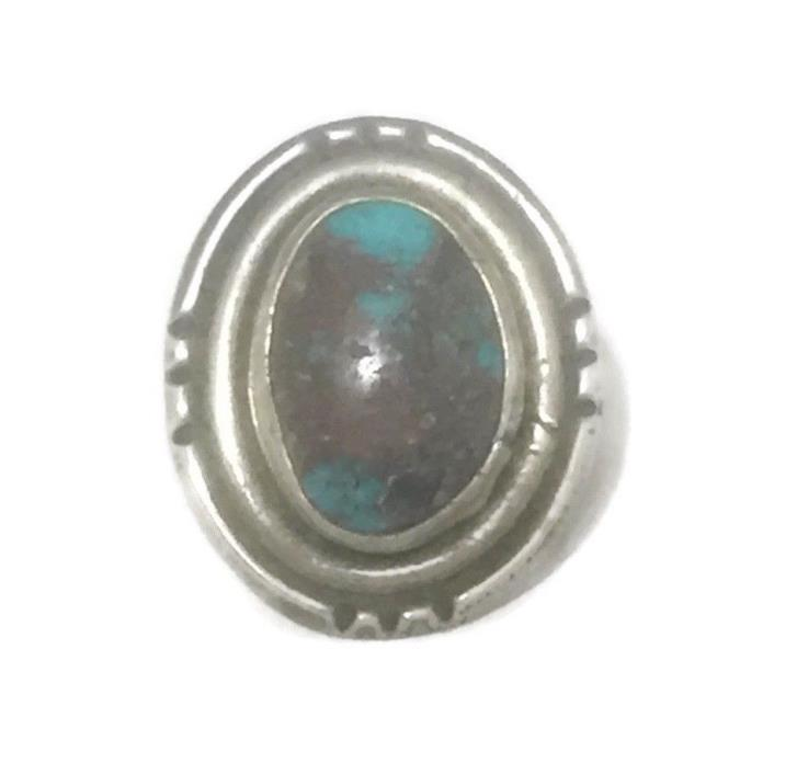 Vintage Sterling Silver Southwest Tribal Turquoise Ring Band Size 4.25 10.1g