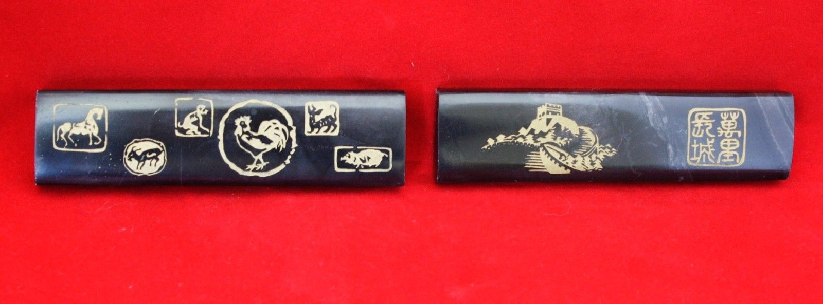 2 Asian Marble Paperweights - Black Bar Shaped with Designs