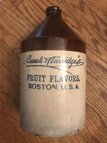 Antique Beach Clarridge Boston Fruit Flavors Stoneware Jug