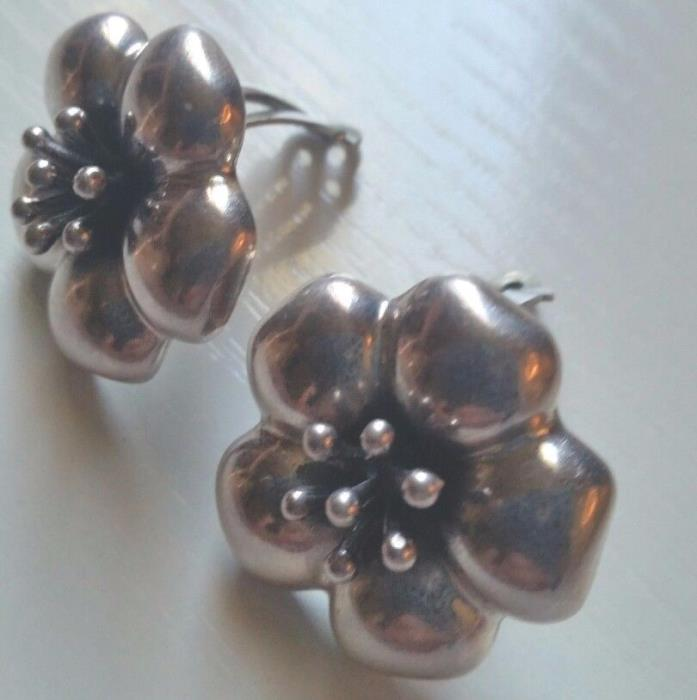 Southwestern Style Sterling Silver Clip-On Earrings Flower