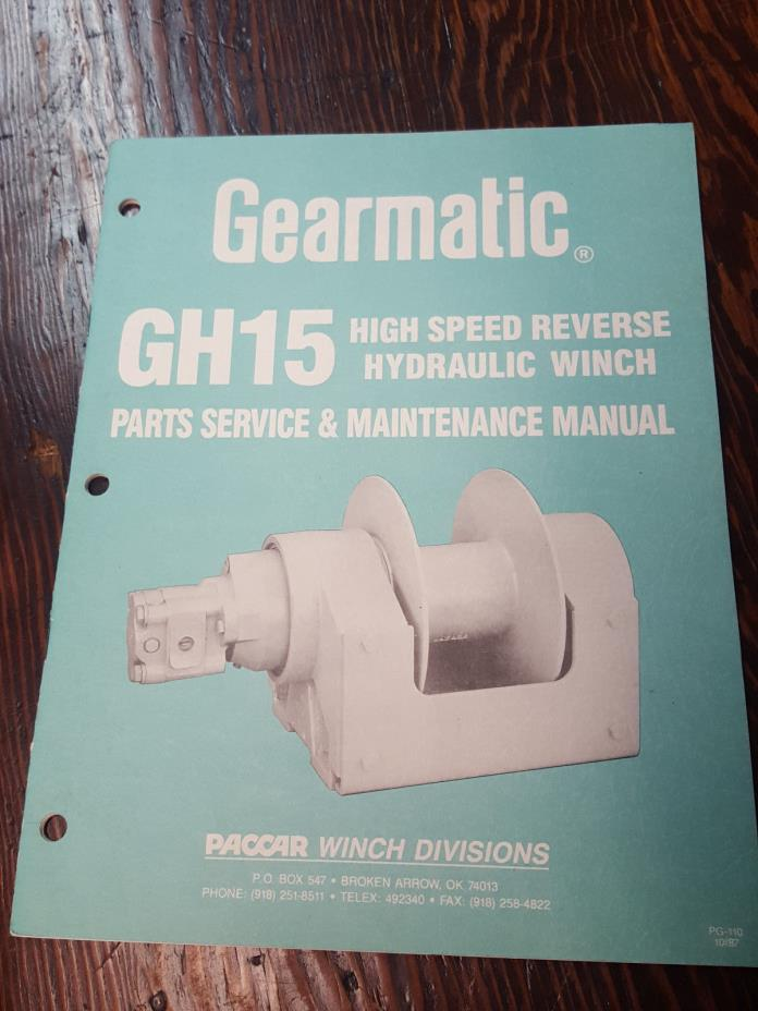 Gearmatic GH15 High Speed Reverse Hydraulic Winch Parts Service & Maint. Manual