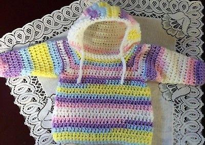 Handmade Crochet Long Sleeve Hoodie/Cardigan Newborn to 3 months Multi color