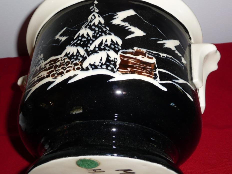HAND PAINTED SIGNED CERAMIC JUG /Bowl Planter w WINTER SNOW CABIN SCENE-ALASKA