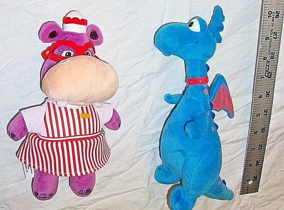 Lot of 2 Disney Plush Stuffed Animals Dolls Hippo & Dragon LKN Free Shipping