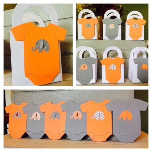 12 Elephant Baby shower favor boxes  Grey & Orange Embossed Onezies Adorable!!