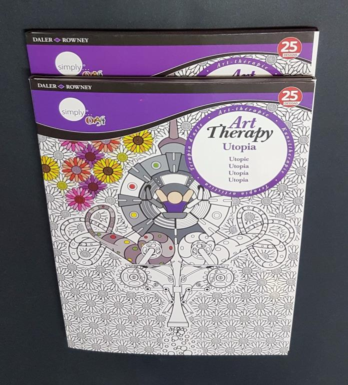 Set of 2 Adult Colouring Books  Utopia 25 Designs Art Therapy NEW