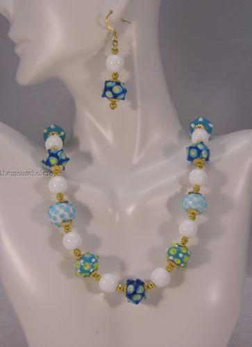 OOAK teal & aqua lampwork & glass bead necklace & pierced earrings gold accents