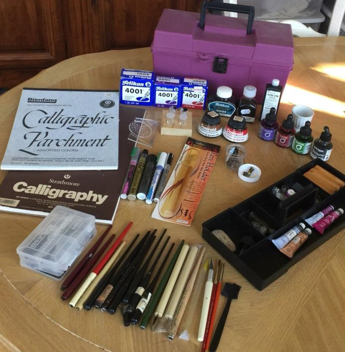 Estate Calligraphy Set, Markers, Nibs, Ink, Holders, Paper,  Gouache, Case