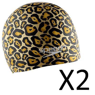 Speedo Silicone Hydro Tribe Swim Cap - Gold, Stretch Fit, Lightweight (2-Pack)
