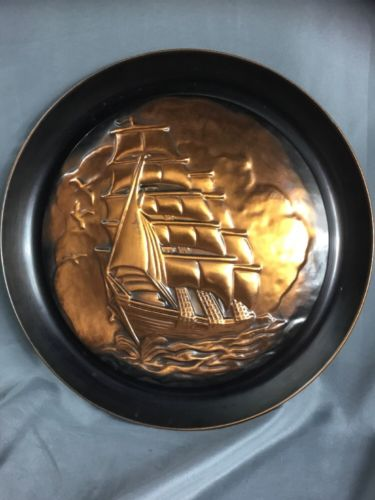 Large Vintage Wall Hanging Tray Copper Color Sailing Clipper Ship Nautical