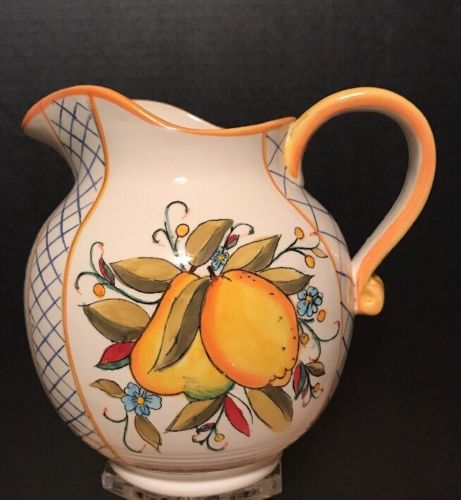 Yellow Pitcher colorful floral design Fruit Russet