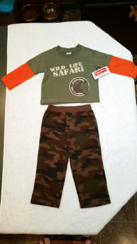 FISHER PRICE Camo Pants & Long Sleeve Tee Shirt Green w/ Orange Sleeves NEW 12M