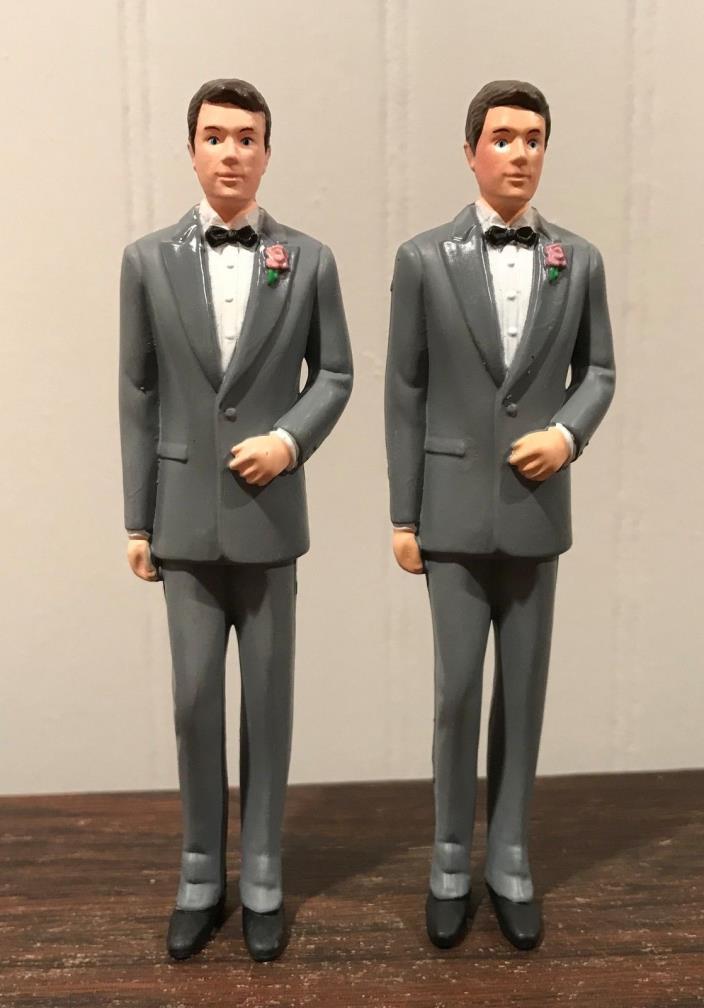 2 Wedding Groomsmen Groom Gray Tux Cake Topper Decorations Lot# 35